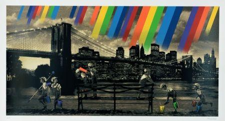 Screenprint Roamcouch - Brooklyn Bridge - Sepia