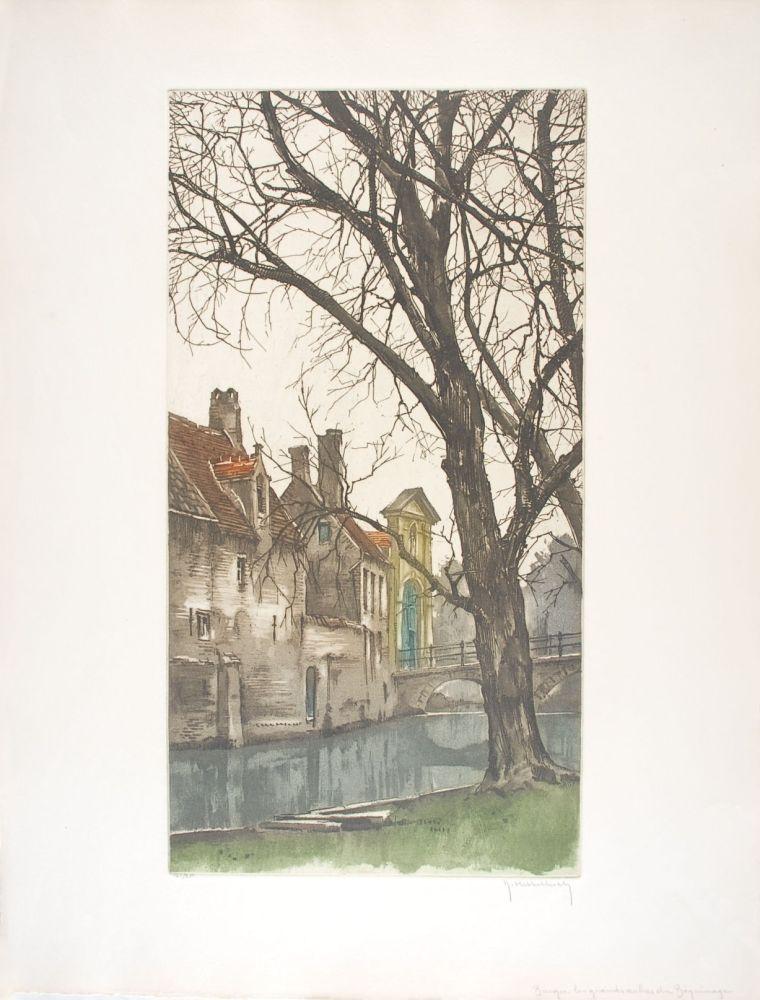 Engraving Hebbelinck - Bruges : Les grands arbres du Béguinage.