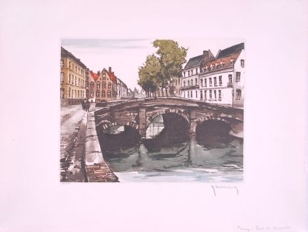 Engraving Hebbelinck - Bruges : Pont des Augustins