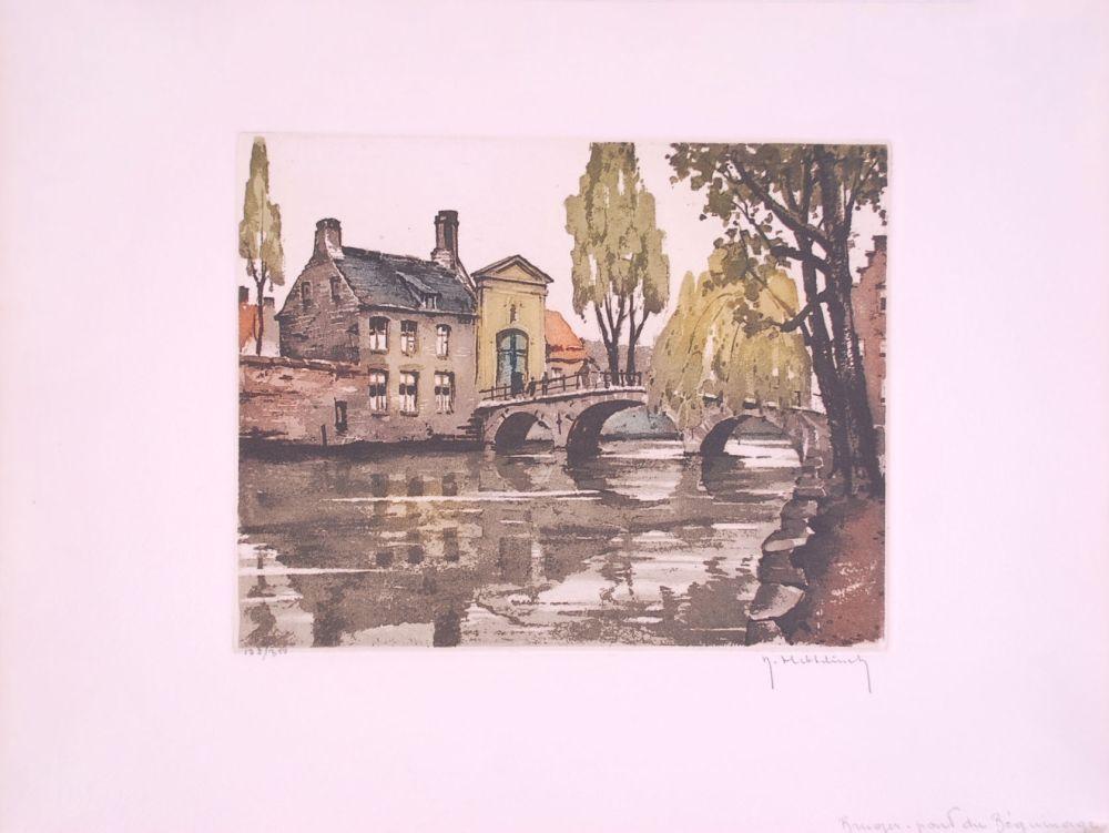 Engraving Hebbelinck - Bruges : Pont du Béguinage.