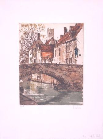Engraving Hebbelinck - Bruges : Pont du cheval
