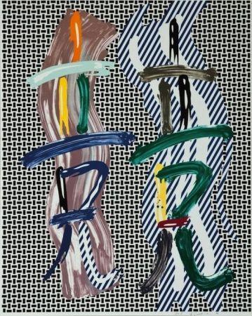 Lithograph Lichtenstein - Brushstroke Contest, from Brushstroke Figure Series