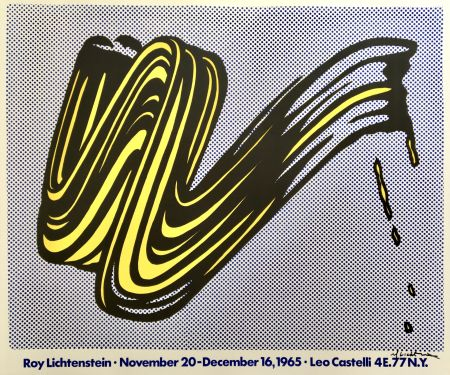 Lithograph Lichtenstein - Brushstroke Hand Signed Exhibition Poster