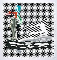 Lithograph Lichtenstein - Brushstroke on Canvas