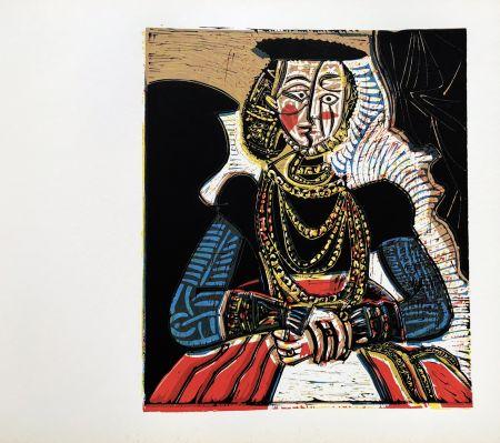 Linocut Picasso (After) - Buste de femme after granache jeune