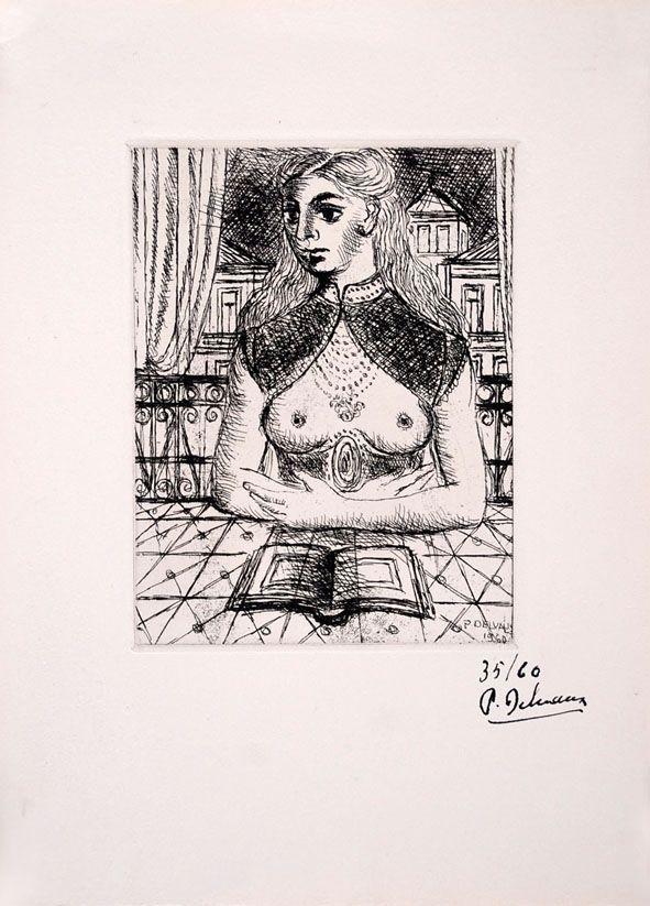 Engraving Delvaux - Buste de Femme III