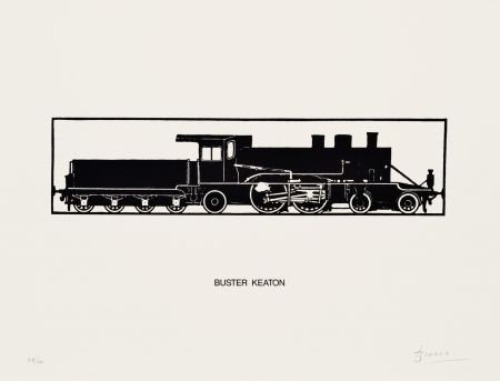 Lithograph Brossa - Buster Keaton