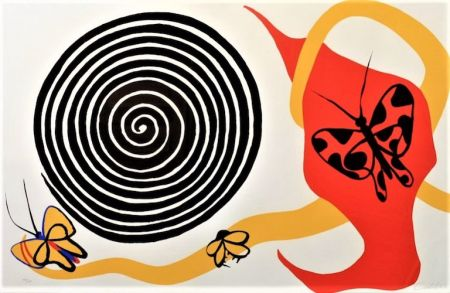 Lithograph Calder - Butterflies And Spiral