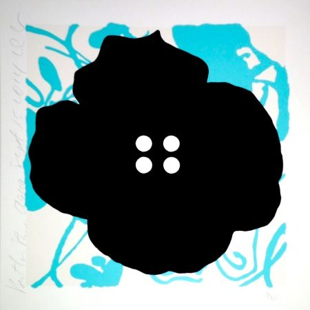 Screenprint Sultan - Button Flower Aqua