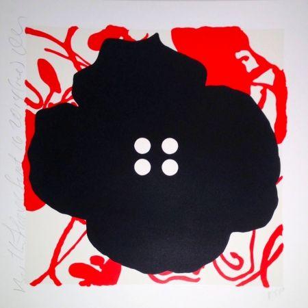 Screenprint Sultan - Button Flower Red