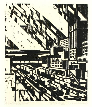 Woodcut Thalmann - By the Canal