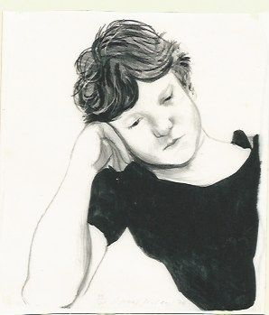 Lithograph Hockney - Byron on hand