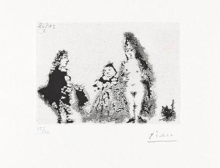 Aquatint Picasso - CÉLESTINE ET FILLE AVEC UN CHAT ET UN JEUNE CLIENT (24 mai 1968).