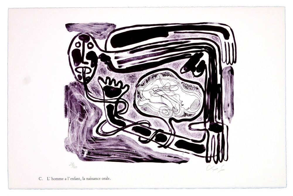 Lithograph Nørgaard - C. L'homme a l'enfant, la naissance orale