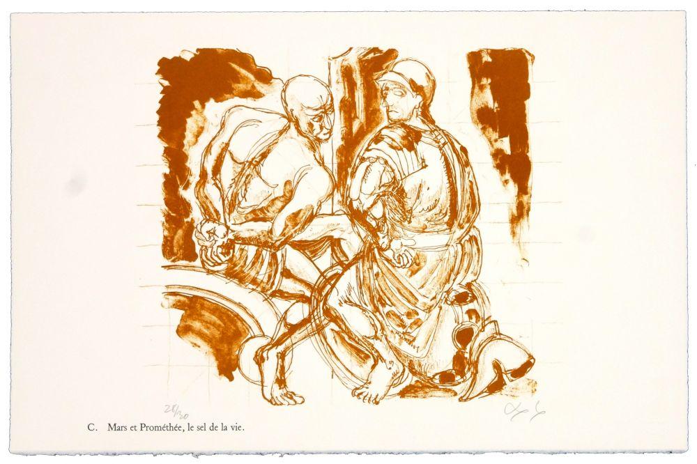 Lithograph Nørgaard - C. Mars et Prométhée.