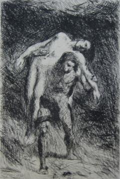 Etching Falguière - Caïn et Abel
