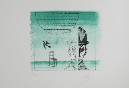 Lithograph Ponc - Cabeza, silla y pájaro