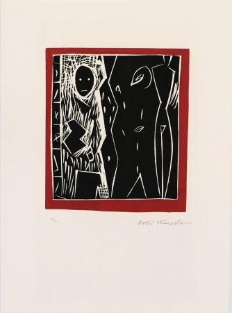 Linocut Kuroda - Cadre rouge