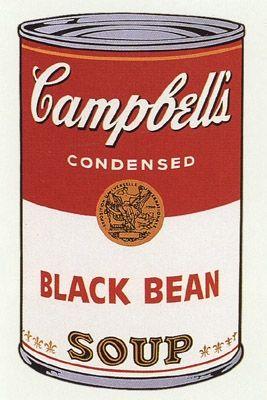 Screenprint Warhol (After) -  Campbell's Soup- Black Bean- Sunday B Morning