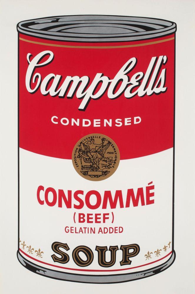 Screenprint Warhol - Campbell`s Soup (Beef Consommé)