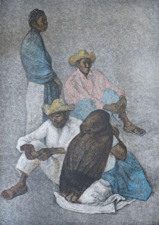 Lithograph Zuniga - Campesinos