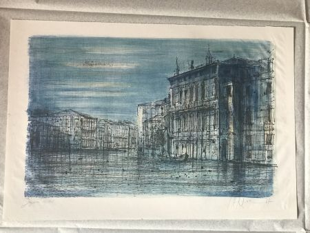 Lithograph Carzou - Canal Venice with Gondola