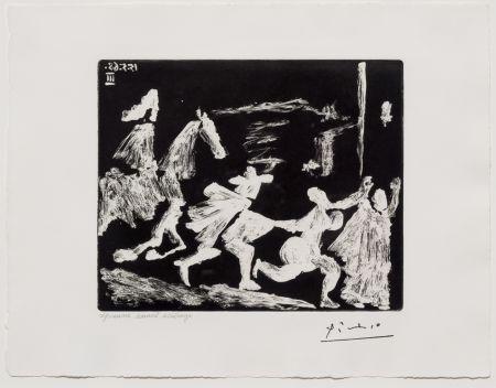 Aquatint Picasso - Capee et Epee: Poursuite I