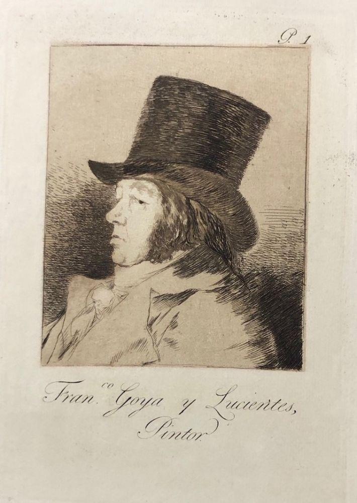 Engraving Goya - Capricho1. Francisco , Goya y Lucientes pintor