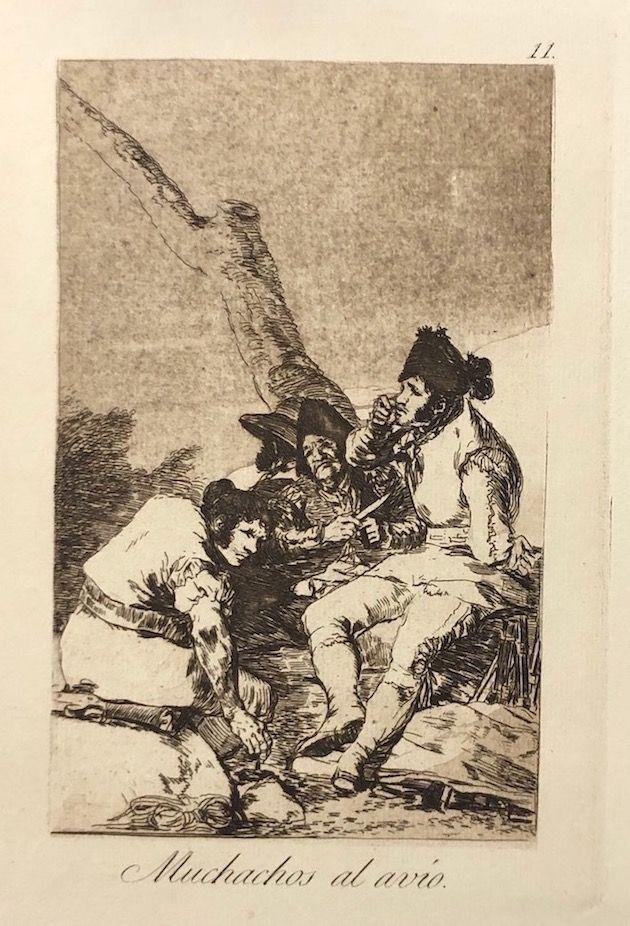 Engraving Goya - Capricho 11. Muchachos al avio