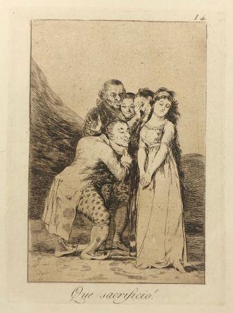 Engraving Goya - Capricho 14. Que sacrificio