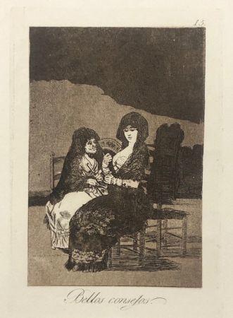 Engraving Goya - Capricho 15. Bellos consejos
