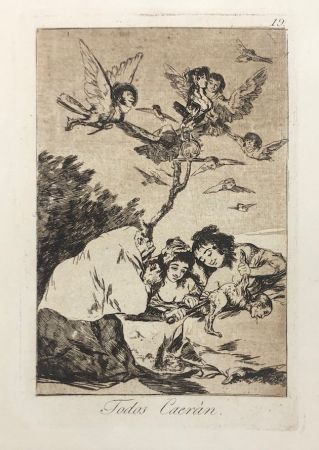 Engraving Goya - Capricho 19. Todos Caerán