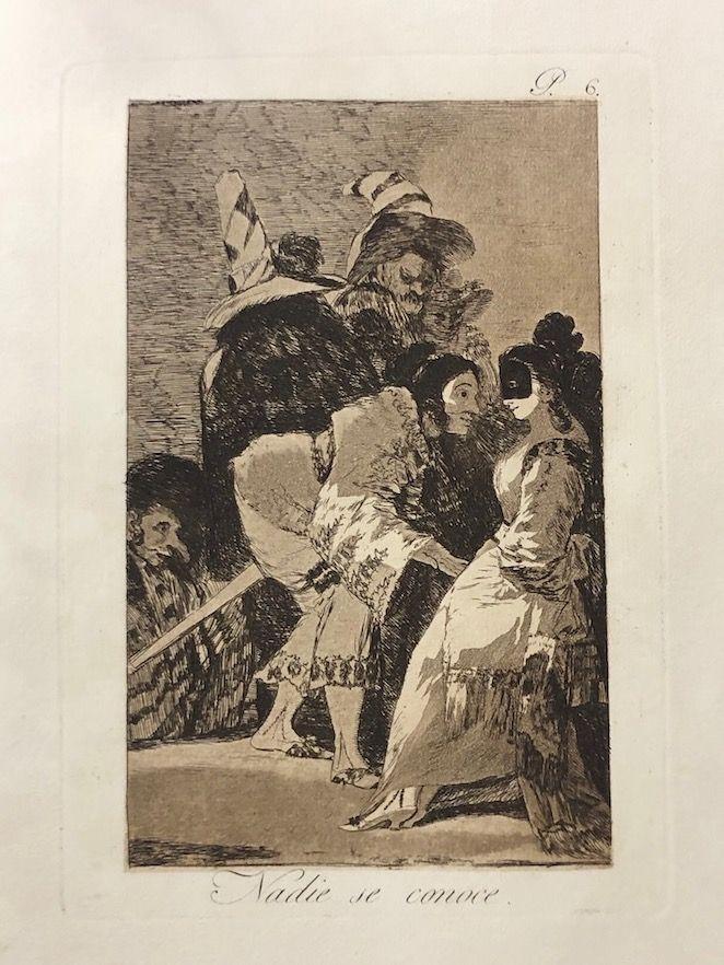 Engraving Goya - Capricho 6. Nadie se conoce