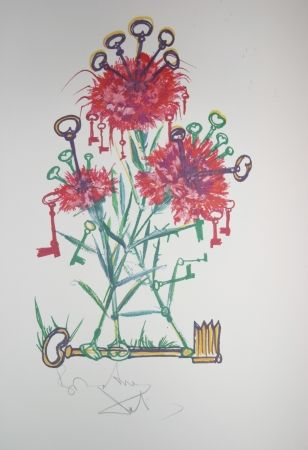 Lithograph Dali - Carnation Keys (surrealistic flowers)