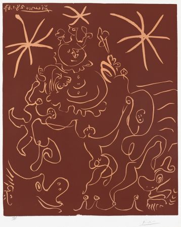 Linocut Picasso - Carnaval (Carnival), 1967