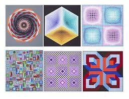 Screenprint Vasarely - Carpeta Jalons