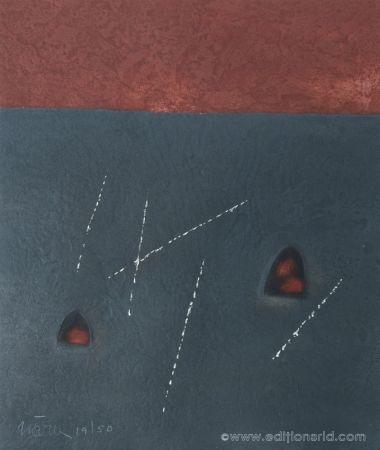 Aquatint Nóvoa - Carré noir & rouge