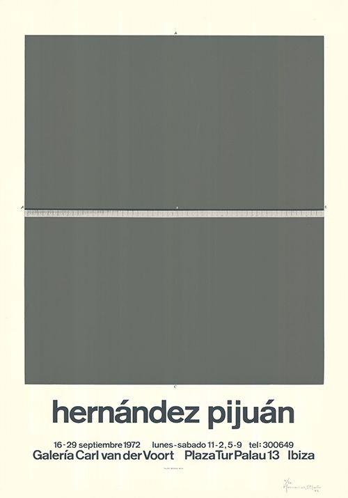 Screenprint Hernandez Pijuan - Cartel de la exposición Galería Carl van der Voort, Ibiza