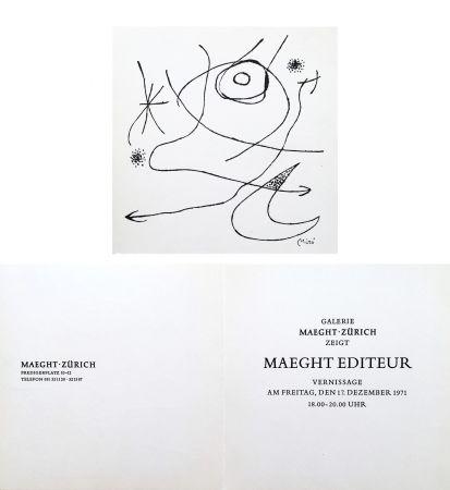 No Technical Miró - Carton d'invitation pour une exposition Miró à la Galerie Maeght-Zürich. 1971.