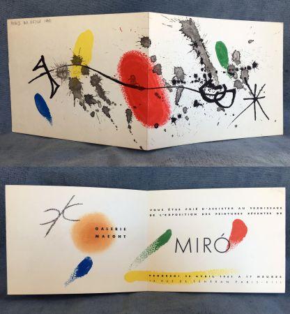 Lithograph Miró - Carton d'invitation pour une exposition Miró à la Galerie Maeght. 1961.