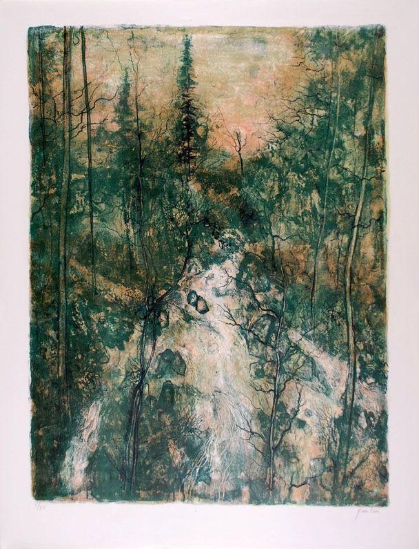 Lithograph Gantner - Cascade verte - Green Falls