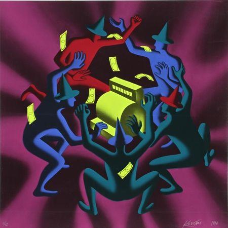 Screenprint Kostabi - Cash Dance