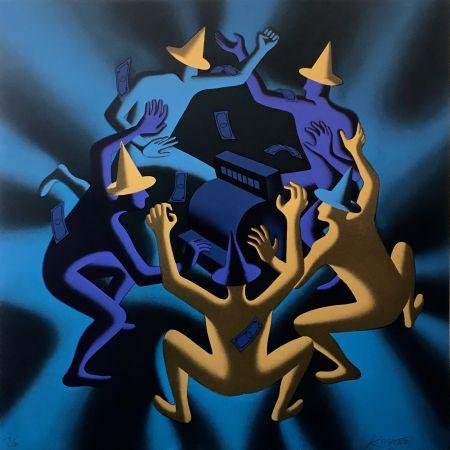 Screenprint Kostabi - CASH DANCE (BLUE)
