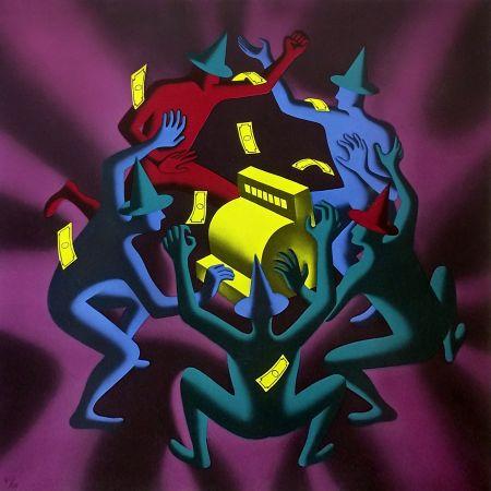 Screenprint Kostabi - CASH DANCE (PURPLE)