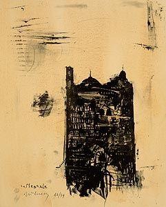 Lithograph Pizzi Cannella - Cattedrale