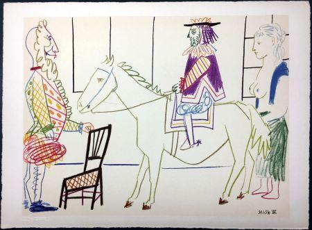 Lithograph Picasso - Cavalier costumé 1 (La Comédie Humaine - Verve 29-30. 1954)