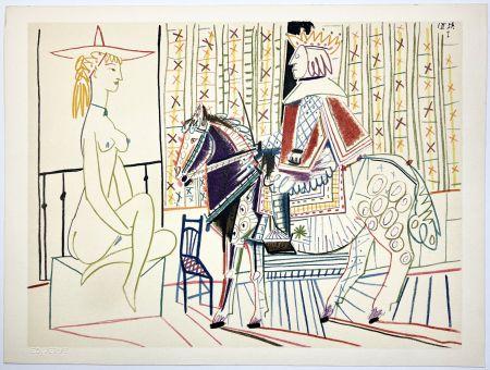 Lithograph Picasso - Cavalier costumé et modèle 2 (La Comédie Humaine - Verve 29-30. 1954).