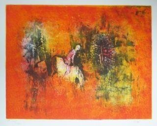 Lithograph Lebadang - Cavalier dans la forêt