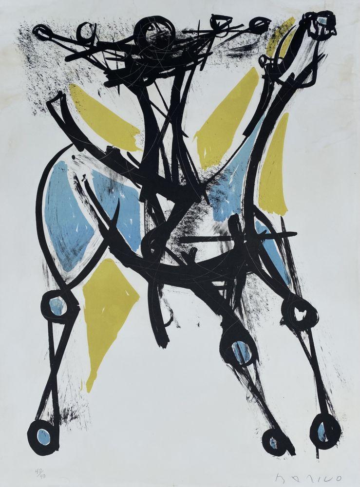 Lithograph Marini - Cavalier et Cheval, Jeune et Blue, 1952