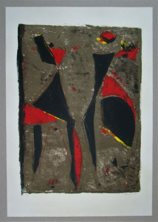 Lithograph Marini - Cavalier noir et rouge sur fond brun